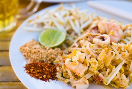 Pad Thai (traditional Thai fried noodle) dish